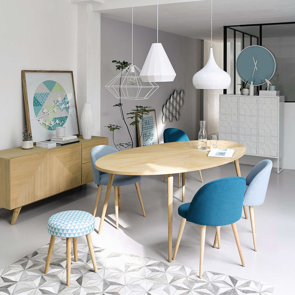 Tabouret motif triangles en coton bleu et bois tables de for Style de salon salle a manger
