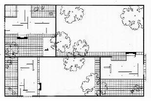Plano de un grupo de tres viviendas con patios de 1931 for Case mies van der rohe