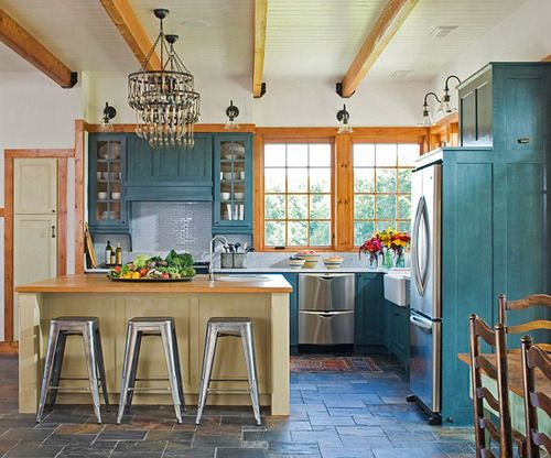 Pretty turquoise kitchen that blends rustic and industrial ...