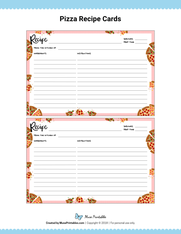 These Free Printable Pizza Recipe Cards Can Be Edited In Adobe Reader Download Them From Https Museprint Recipe Cards Printable Recipe Cards Recipe Book Diy