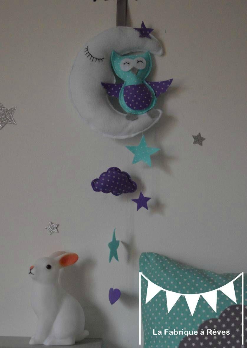 Mobile Enfant Bébé Fille Garçon Nuage étoile Lune Chouette Gris Mauve  Violet Turquoise 3
