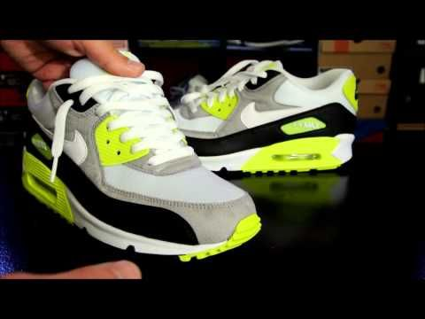 83138632178 Nike Air Max 90 Black  White  Medium Grey - Volt + How to Lace your  Sneakers - YouTube