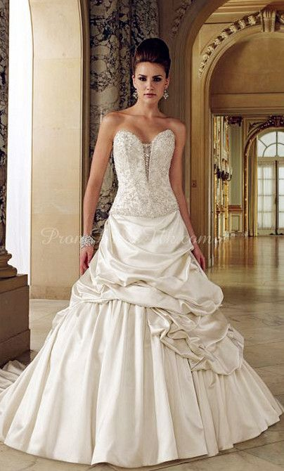 Satin A-line Strapless With Picks Up And Beads Chapel Train Wedding Dress