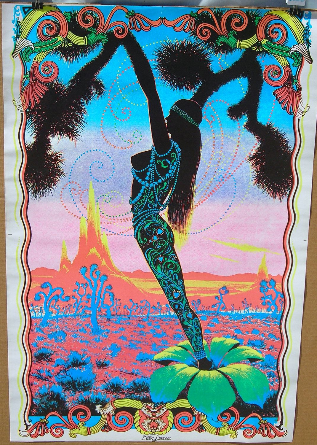 Vintage 1970's Desert Blossom Black Light Hippie Poster ...