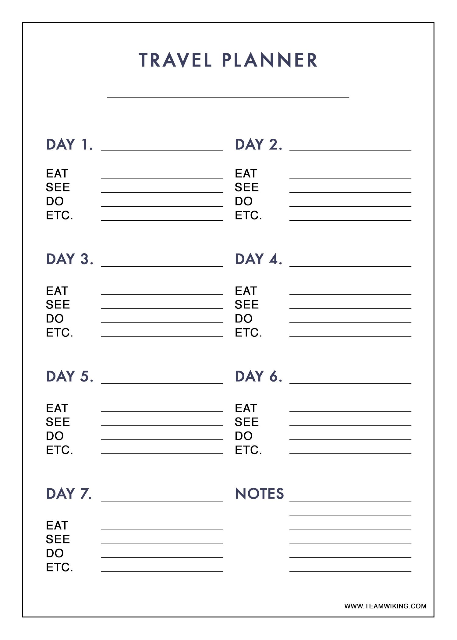 Free Printable 7 Day Travel Planner Use To Plan Outfits Packing Carry On Only Travel Itinerary Template Travel Planner Vacation Planner