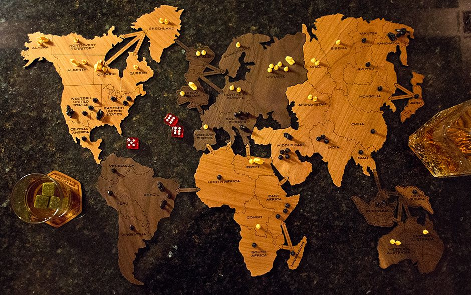 Custom wooden risk board fringe focus home office home office wooden board game world map fringe focus gumiabroncs Gallery