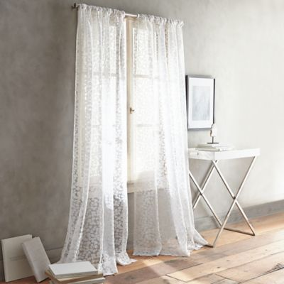 DKNY Halo Rod Pocket Sheer Window Curtain Panel In White   BedBathandBeyond .com