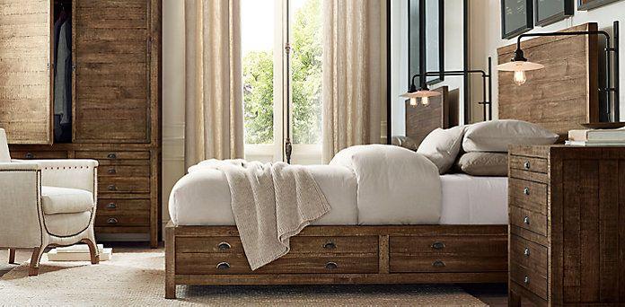 Printmakeru0027s Bedroom Collection Antiqued Pine | Restoration Hardware
