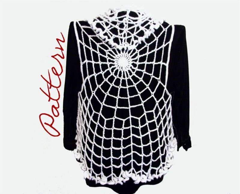 Pdf Crochet Pattern Spiderweb Lace Vest With Ruffled Edges