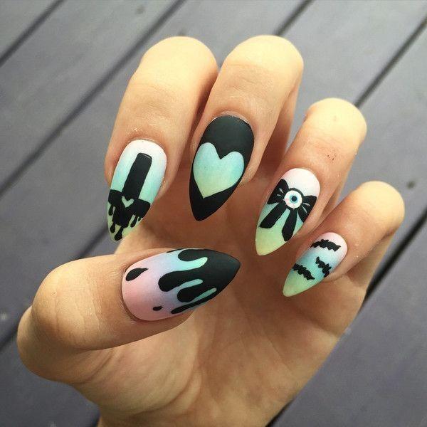 Pastell Goth Regenbogen Ombre handgemalte gefälschte Nägel ❤ mochte auf Polyvore mit ... - Diy Nagel #beautyproducts