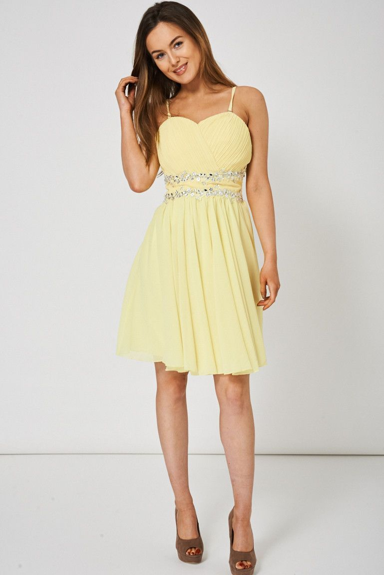 Yellow pleated bust and gem dress products pinterest gems and