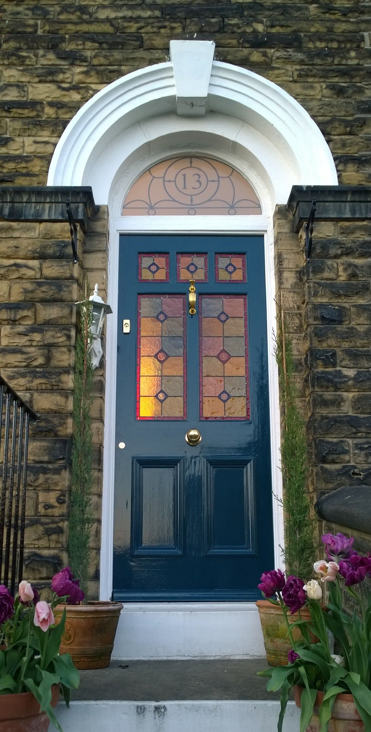 Stained Glass Victorian Front Door In Farrow Ball Hague Blue