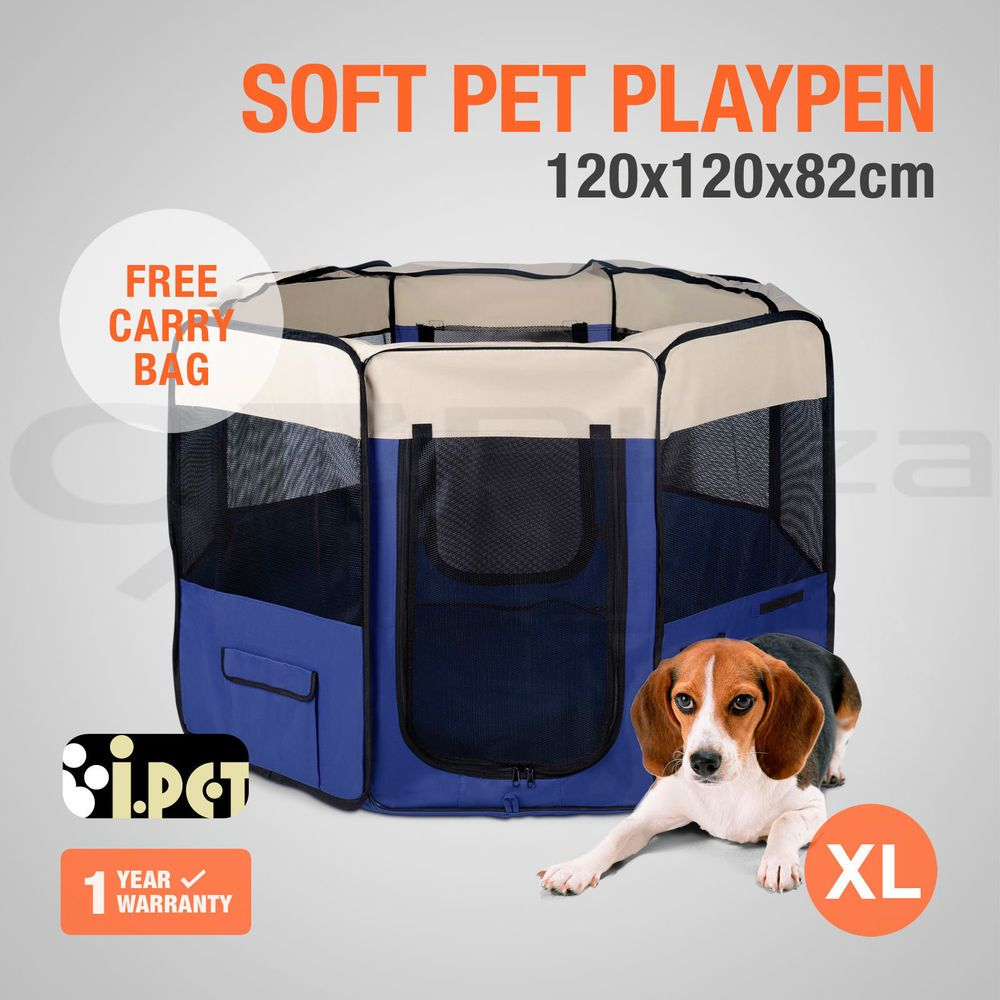 Pet Playpen Dog Cat Soft Crate Cage Tent Travel Puppy Portable Exercise  Blue XL