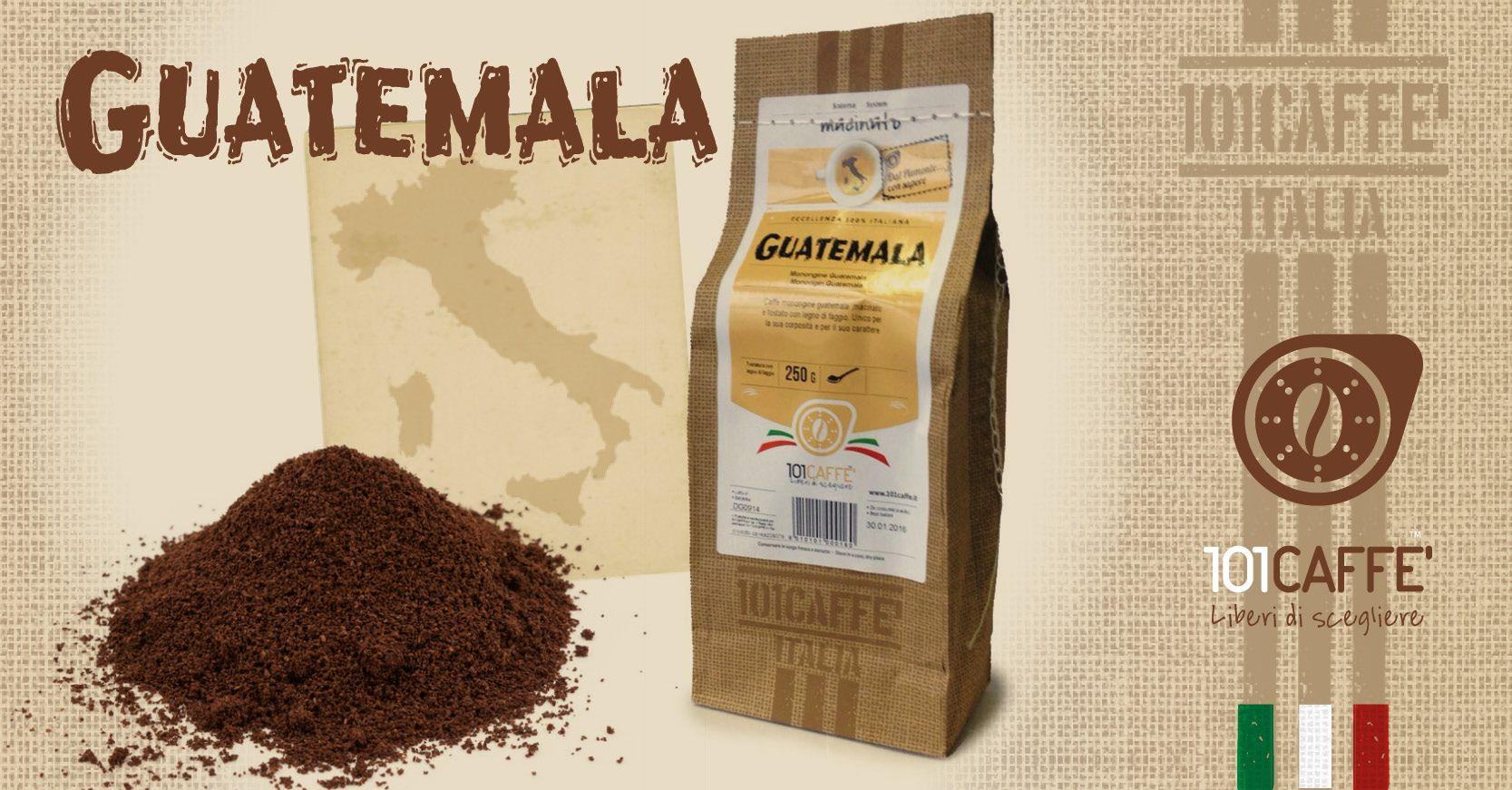 GUATEMALA: una monorigine 100% arabica, proveniente esclusivamente da un'unica piantagione in Guatemala. Porta con sé note floreali, di agrumi e cioccolato. Per te che cerchi un caffè vellutato e aromatico. Disponibile Macinato per Moka, macchina espresso con pompa e macchina espresso a braccetto, lo trovi nei punti vendita 101CAFFE' e sul sito 101caffe.it al seguente link: http://bit.ly/GUATEMALA_Macinato_101Caffè