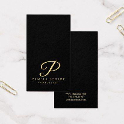 Black and gold elegant monogram business card business cards colourmoves