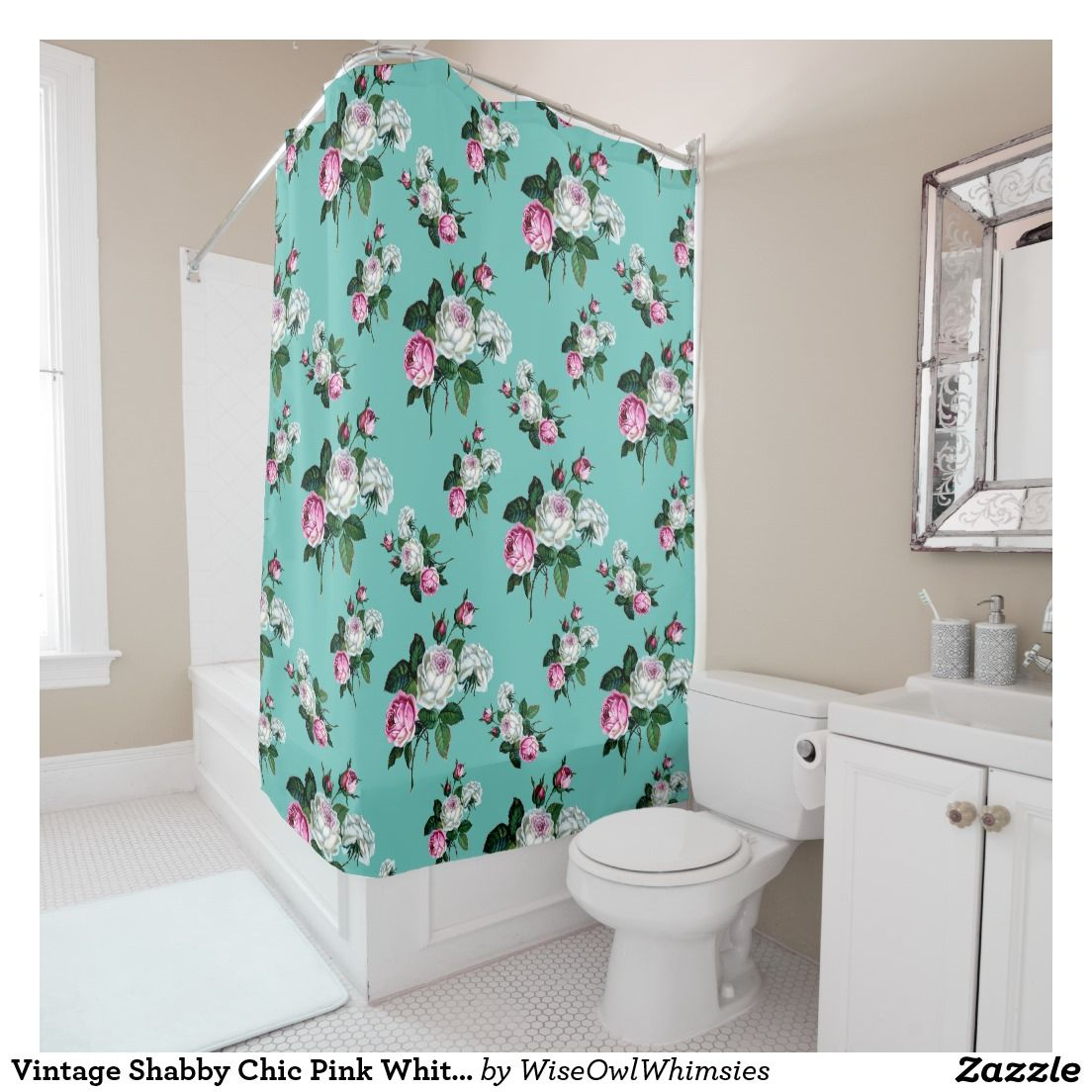 Vintage Shabby Chic Pink White Roses On Mint Green Shower Curtain - Mint green shower curtain