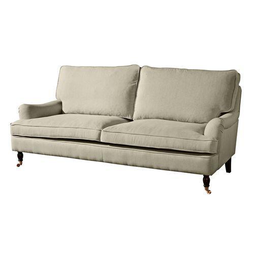 gemütliches Sofa mit Leinenbezug in beige, Couch mit Klavierfüßen - wohnzimmer sofa landhausstil