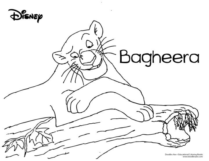 Jungle Book Coloring Sheet-Bagheera