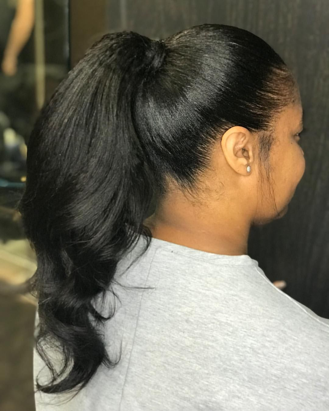 I Love A Sleek Ponytail Using My Relaxed Straight Texture The Blend And The Fullness Of The Hair With Natural Hair Styles Natural Hair Ponytail Sleek Ponytail