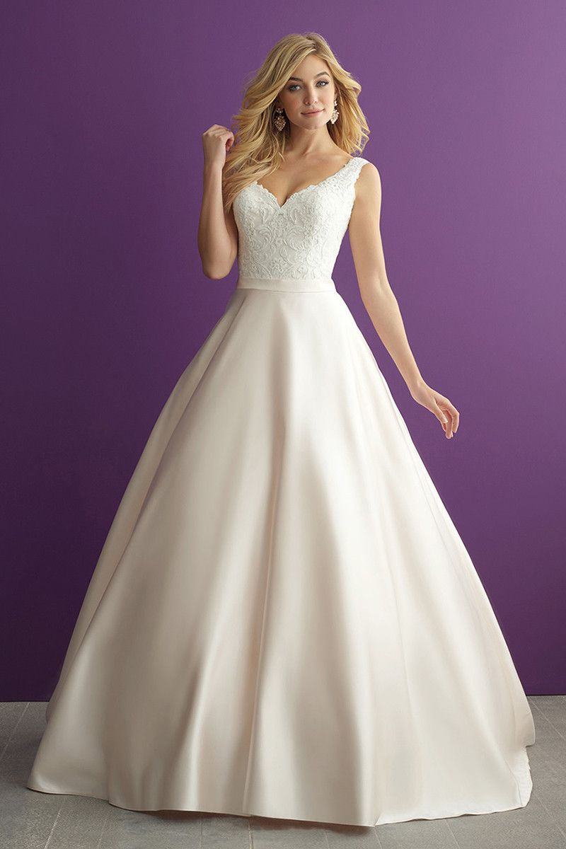 Glam ball gown with satin skirt + lace bodice with sequin embellishment - Style 2951 from @allurebridals
