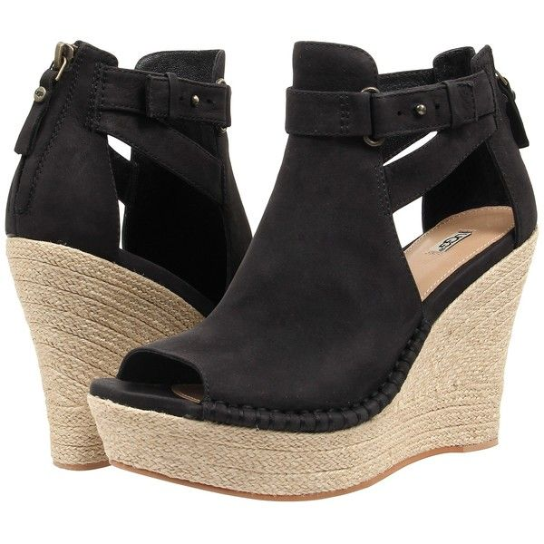 UGG Jolina (Black Nubuck) High Heels ($113) ❤ liked on Polyvore featuring