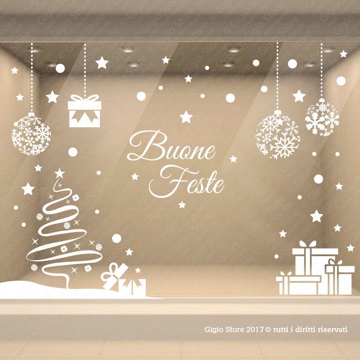 adesivi vetrine palle di natale decorazioni natalizie vetrofanie wall stickers