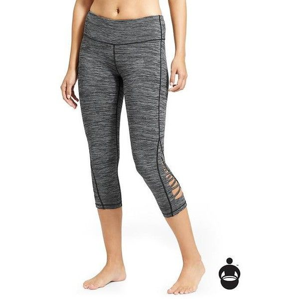 Athleta Women Spacedye Criss Cross Chaturanga Capri ($74) ❤ liked on Polyvore featuring activewear, activewear pants, black, athleta sportswear, yoga activewear and athleta