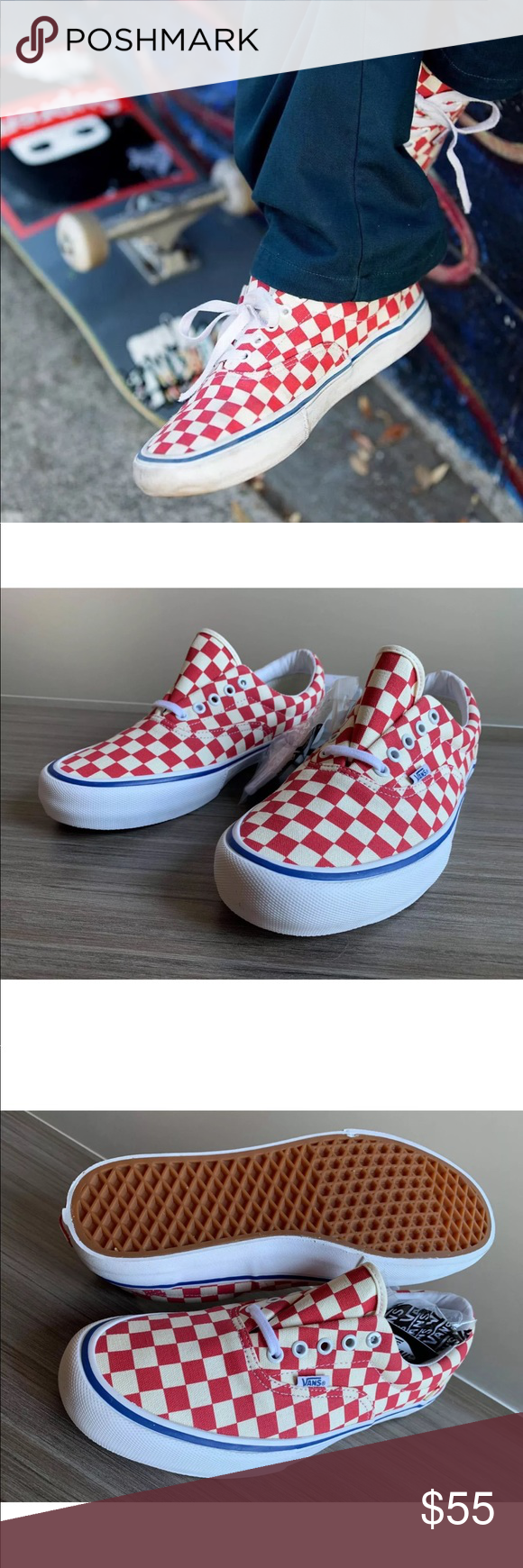 cc123cb27a3 Vans Men s Era Pro Checkerboard Rococo Red NEW AUTHENTIC VANS ERA PRO  CHECKERBOARD SKATE SHOES COLOR  Rococo Red   Off-White RETAIL   60+TAX It  doesn t get ...