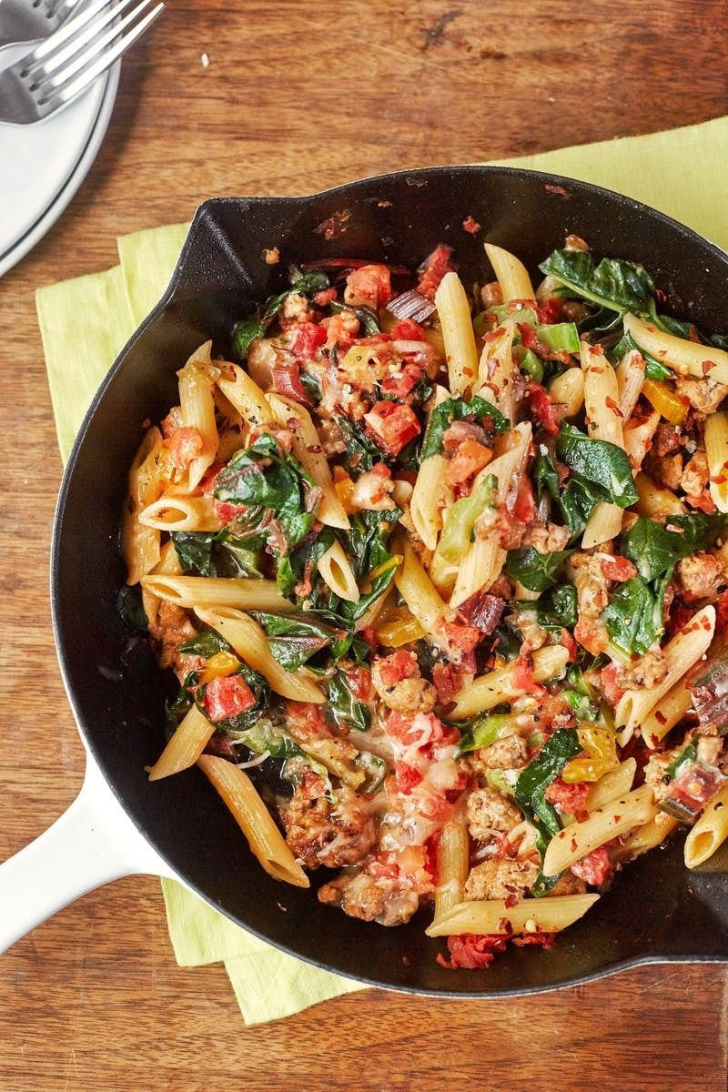 turkey and greens skillet pasta | recipe | weeknight meals