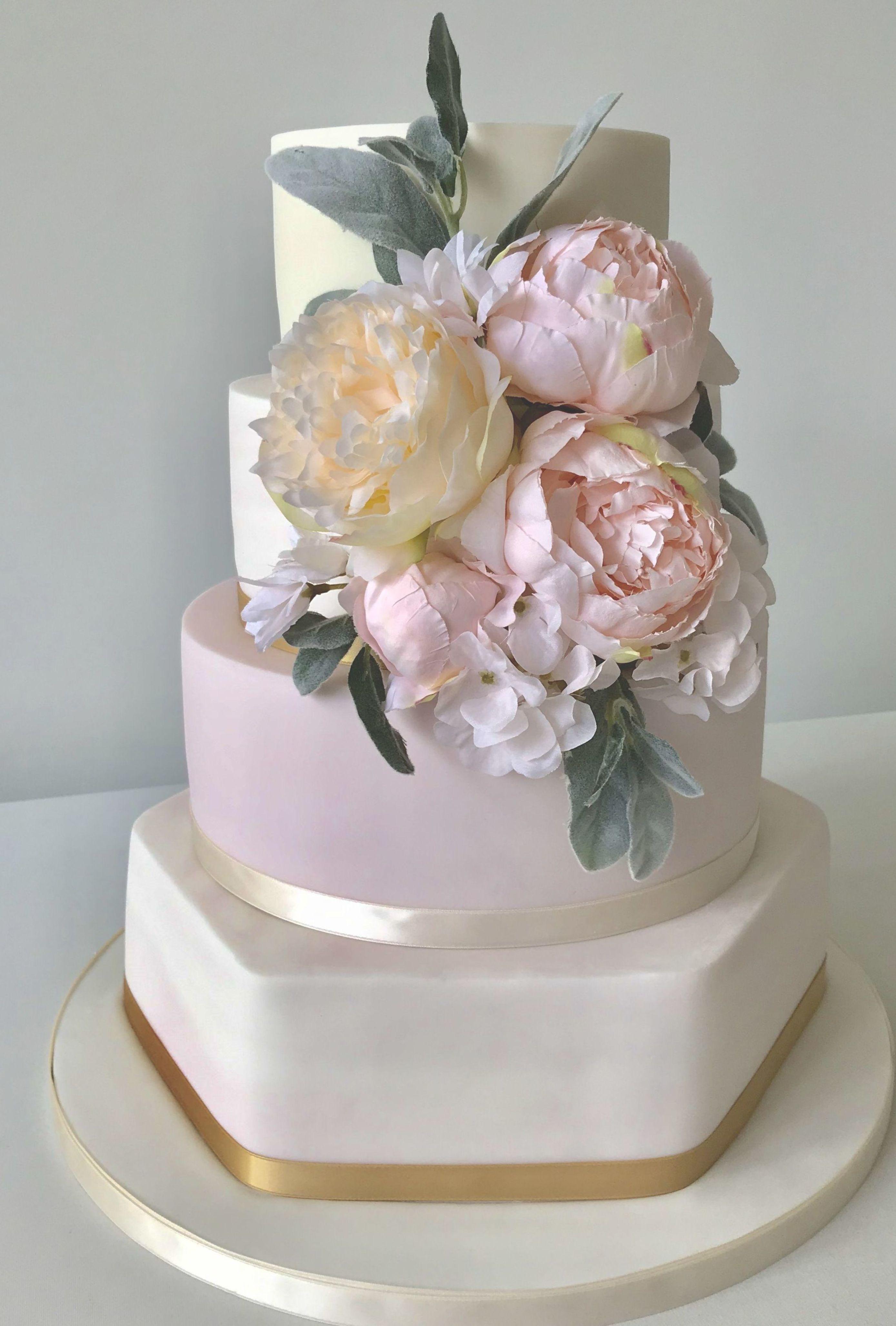 Blush marble peony wedding cake