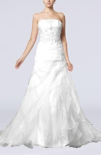 Organza Strapless Elegant Bridal Gowns - Order Link: http://www.theweddingdresses.com/organza-strapless-elegant-bridal-gowns-twdn6336.html - Embellishments: Ruffles , Draped , Appliques; Length: Court Train; Fabric: Organza; Waist: Natural - Price: 199.99USD