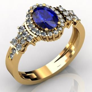 Oval Tanzanite Ring With Yellow Gold