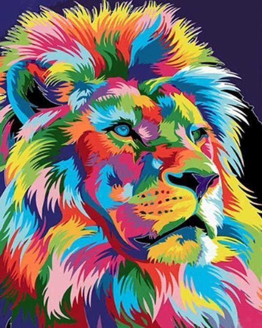 Portrait Colore D Un Lion Peinture Par Numero Peinture De Lion Peinture Multicolore Peinture Par Numero