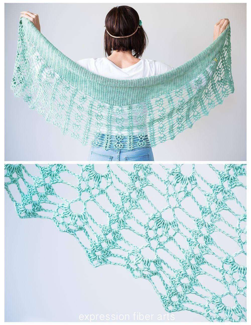 Pistachio Falls Cascading Crescent Crochet Shawl Pattern | Tücher