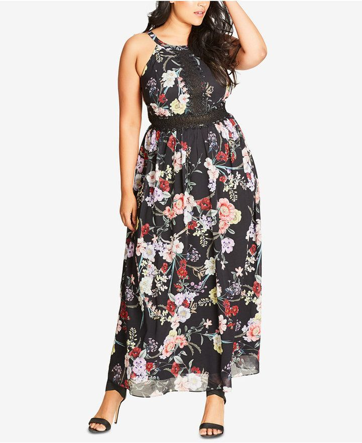 cd8fbd34f30a29 City Chic Trendy Plus Size Lace-Trim Maxi Dress   Products in 2019 ...