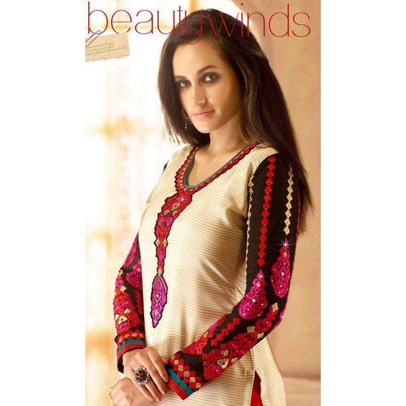 Eid Special Designer Multi Color French Crepe Churidar Suit-587-21009( OFB-587 )Karishma