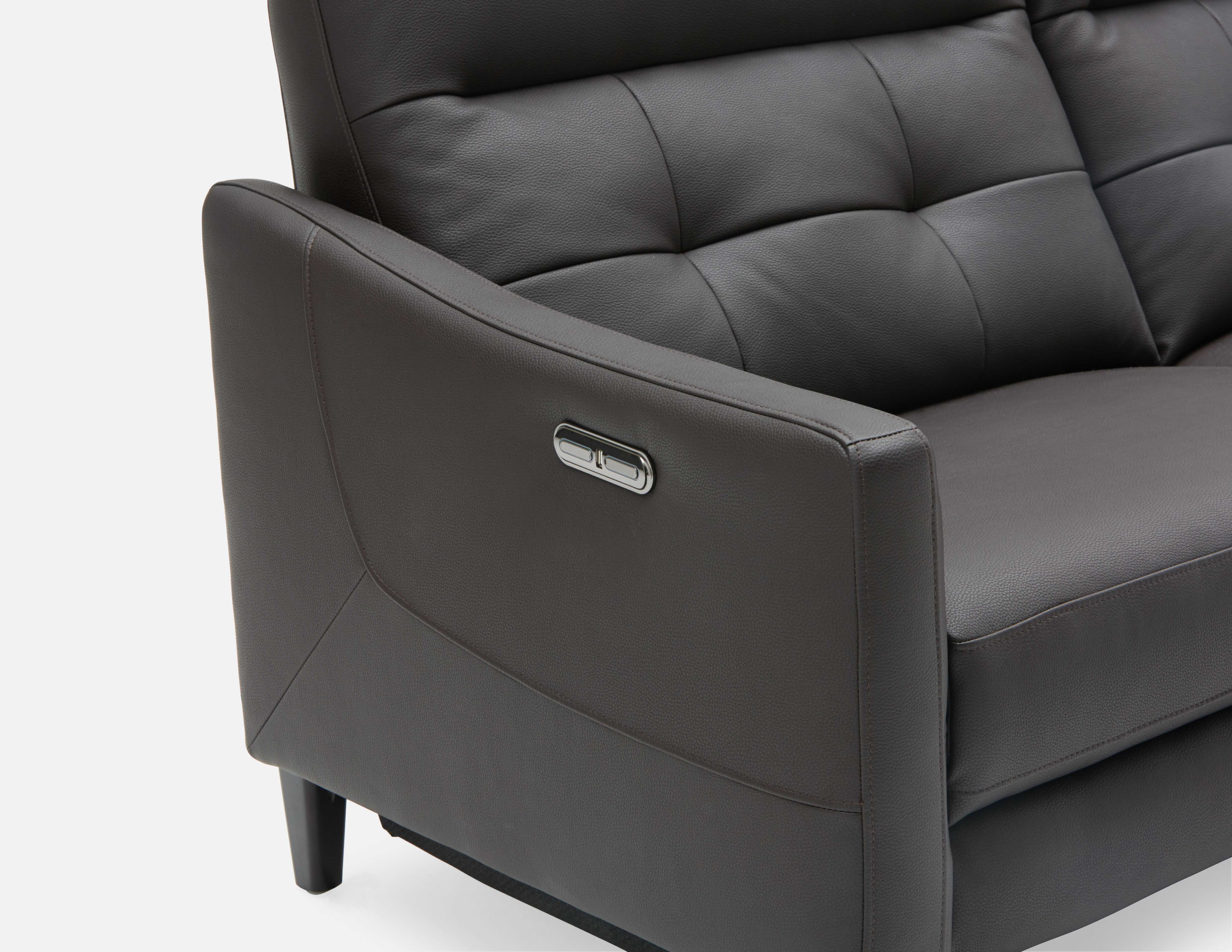 Brown Reclining Loveseat Structube Hampshire Power Reclining