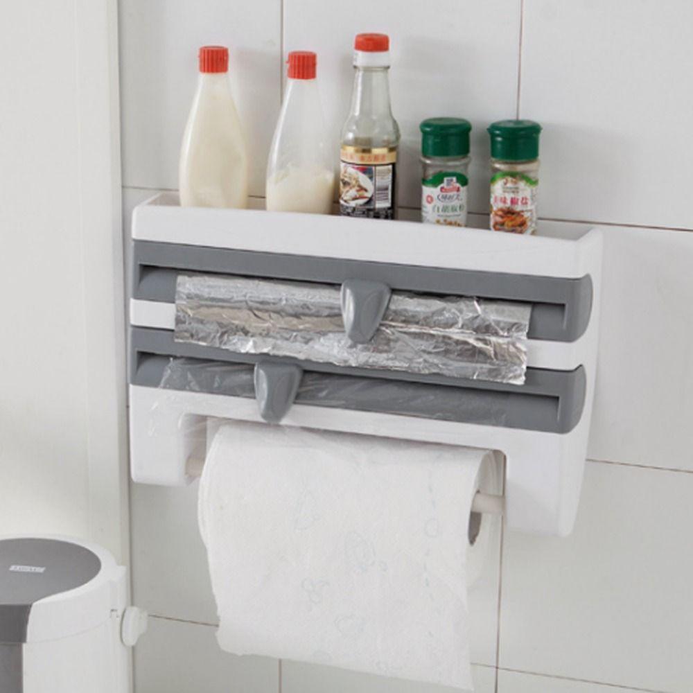 Refrigerator Cling Film Storage Rack Shelf Plastic Wrap Cutting ...