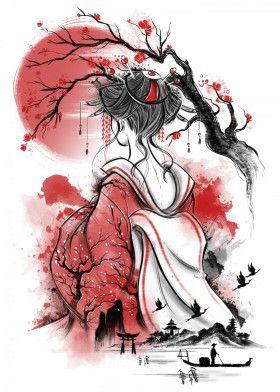 Geisha dream Japanese & Asian Poster Print | metal posters - Displate #japanesecrafts