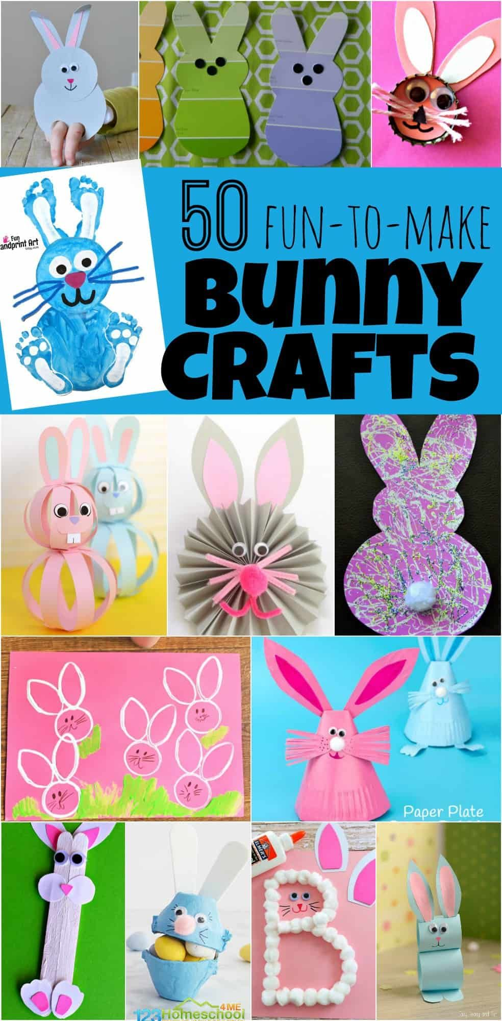 50 Bunny Crafts for Kids - so many really fun to make, creative, and unique easter crafts for kid to make in the spring. Perfect for toddler, preschool, kindergarten and more! #craftsforkids #eastercrafts