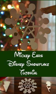 Super easy Mickey ears paper snowflake craft to deck the halls this holiday season. Includes step by step instructions