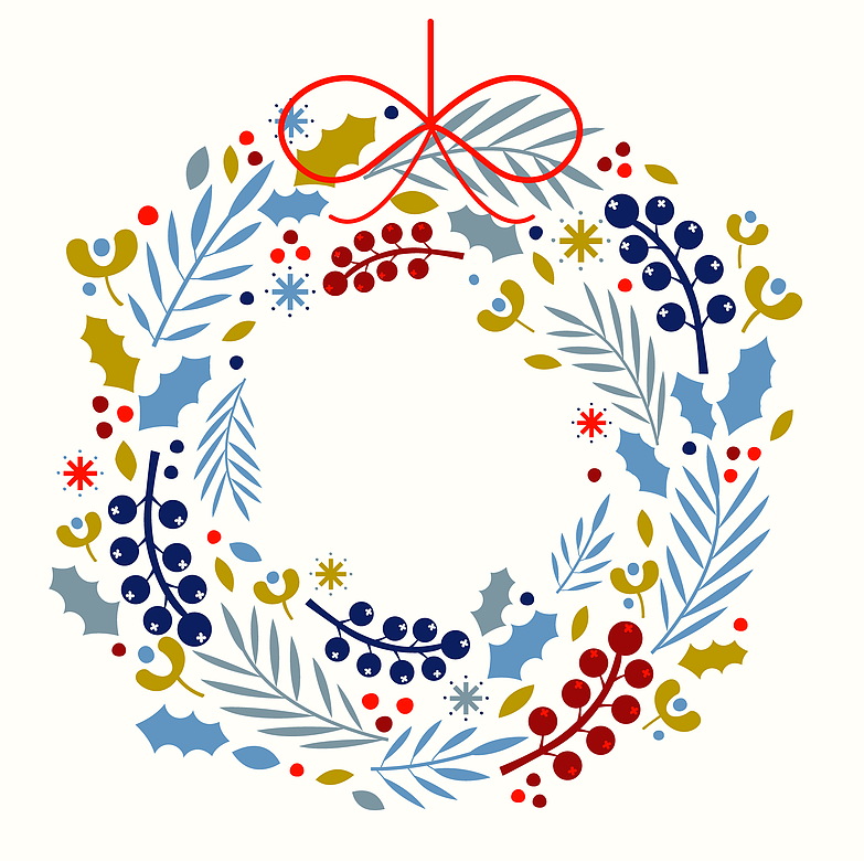 A Christmas wreath illustration designed for a range of