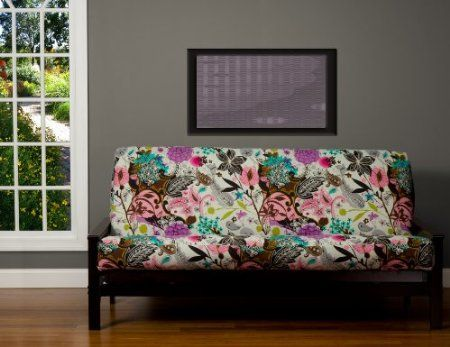 Com Sis Cover Garden Fantasy White Futon Fabric Removable Only Frame And Mattress Sold Separately Full