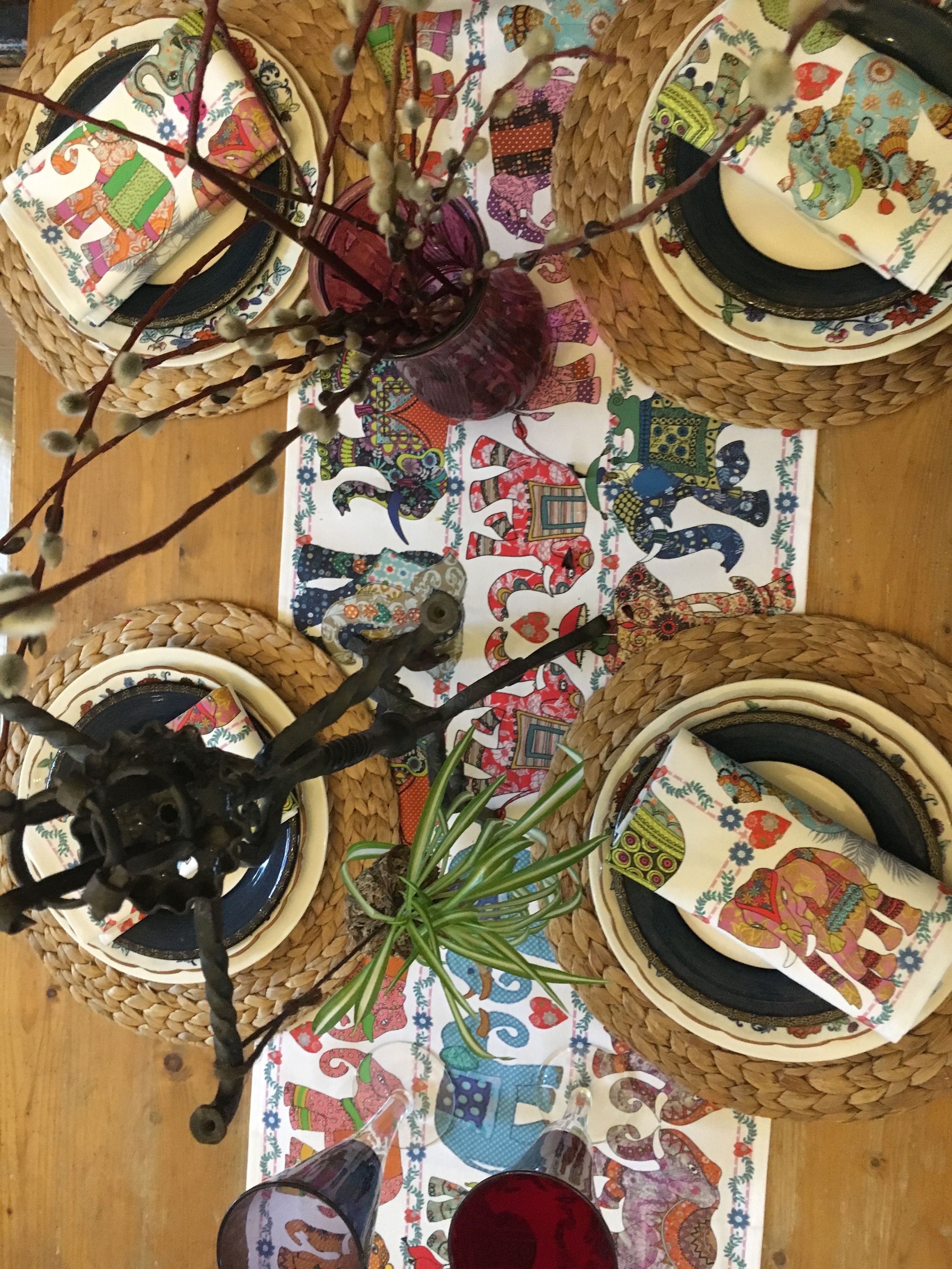 Elephant Table Runner For Your Bohemian Home Gift Or Keep It Is A Great Way To Make Tables Look Fa Elephant Parade Bohemian Elephant Elephant Table