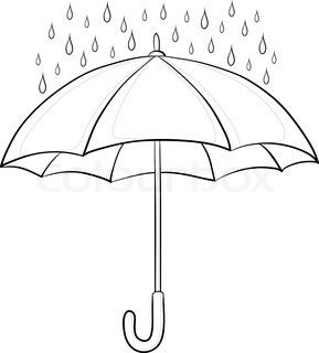 Vector Of Vector Umbrella And Rain Drops Monochrome Contours On White Background Umbrella Drawing Umbrella Umbrella Art