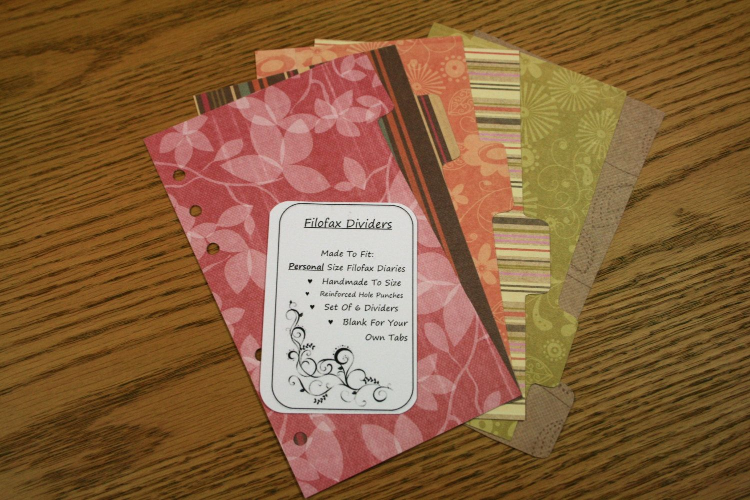 Filofax Dividers Handmade Double Sided Bold Flower Design Pink/Green/Brown - Personal / Pocket by BeccaLeaDesigns on Etsy