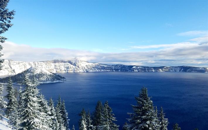 T l charger fonds d 39 cran lac de crat re 4k hiver for Sfondi desktop aurora boreale