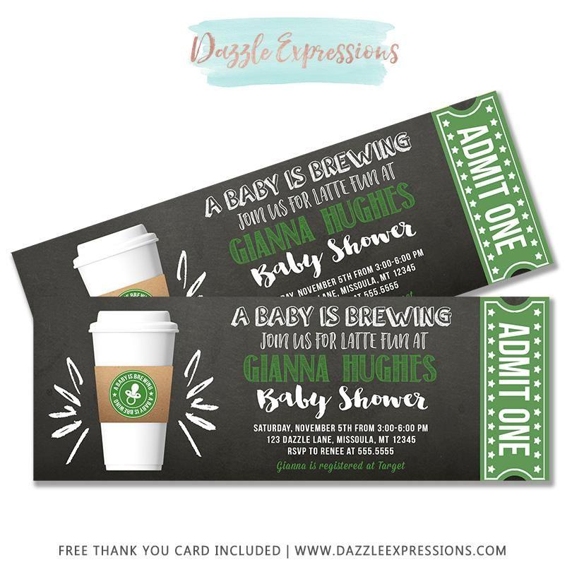Latte Chalkboard Ticket Baby Shower Invitation