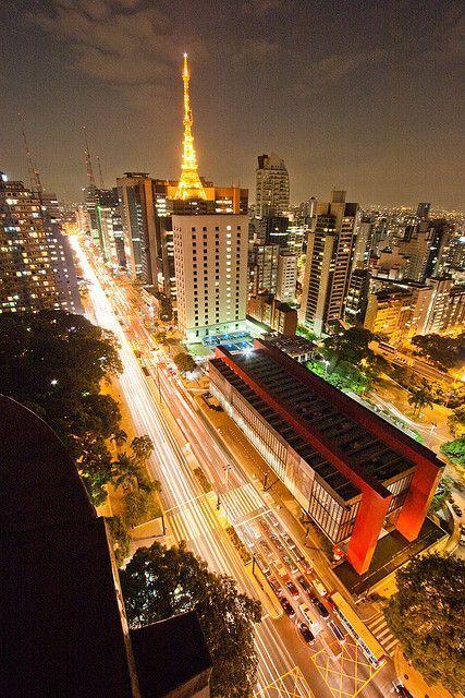 O Lindo Masp De Noite Meu Vizinho Da Janela Do Quarto Do Hotel Em Sao Paulo
