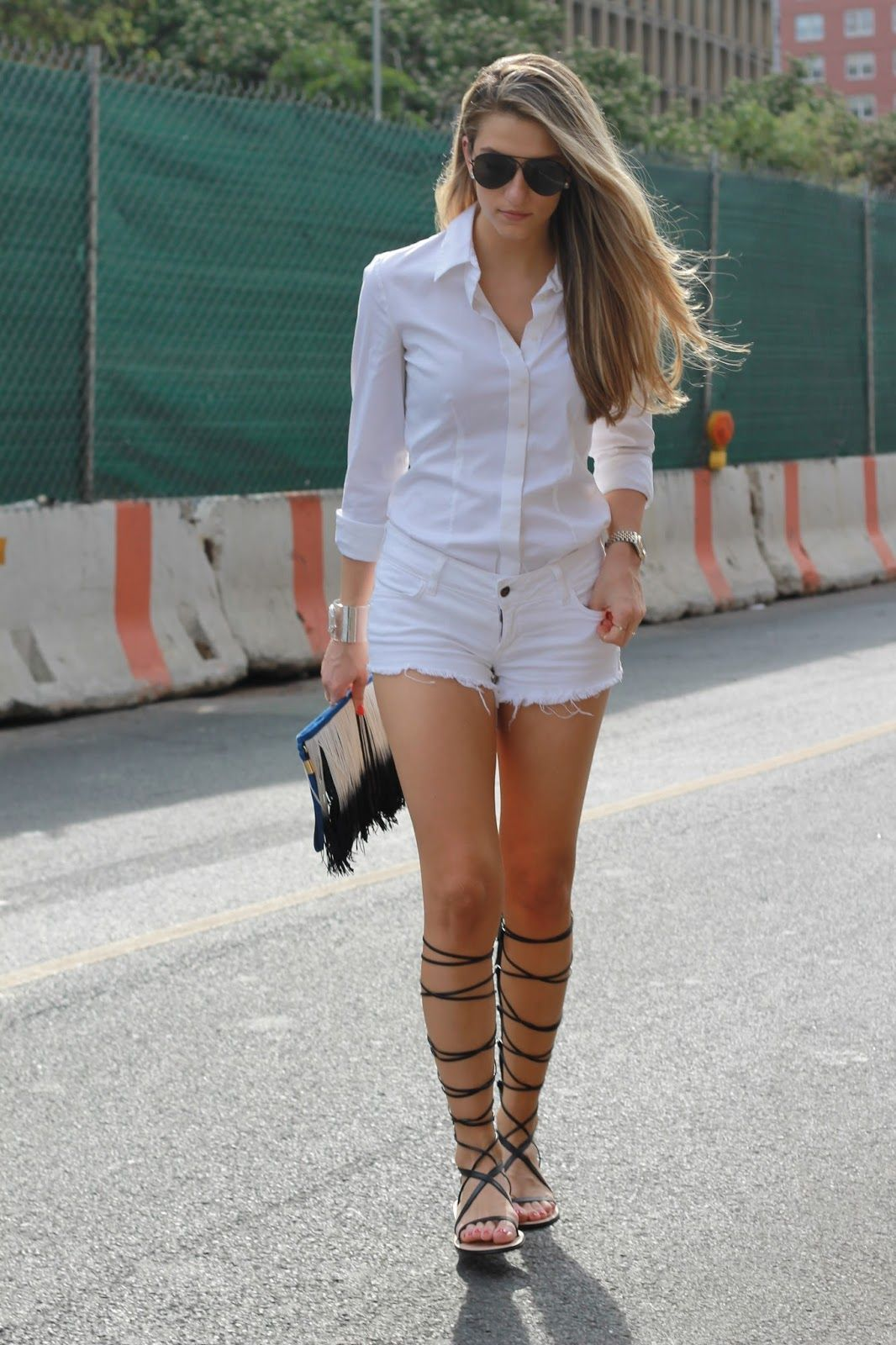 all white look 2015, white cutoff outfits, white denim shorts ...